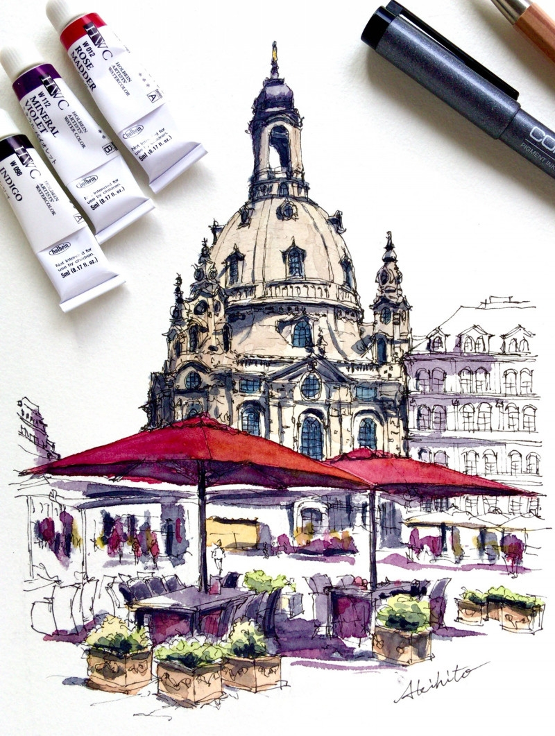 06-Frauenkirche-Dresden-Germany-Akihito-Horigome-Travelling-Drawing-and-Painting-www-designstack-co