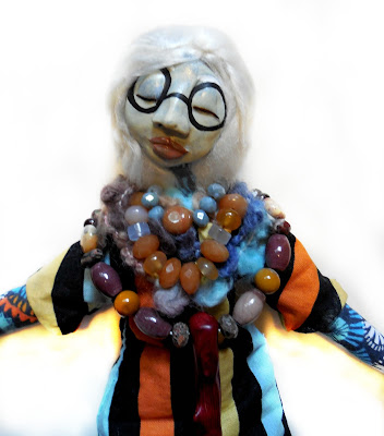 OOAK Folk Art Doll in honor if Iris Apfel fashion icon
