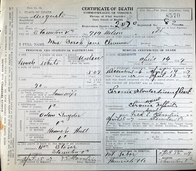 Mrs. Sarah Jane Clemmer's death certificate, Staunton, VA