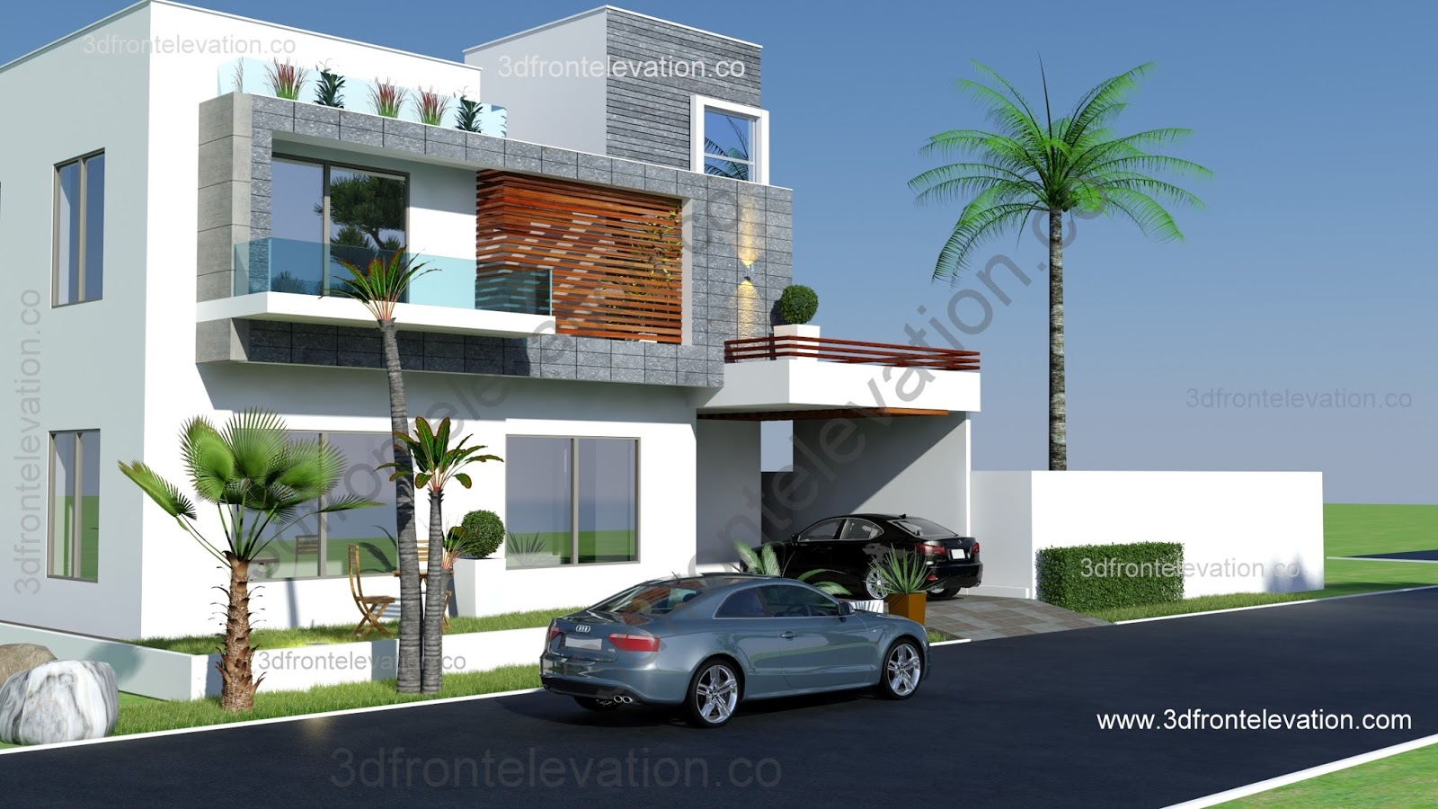 3d Front Elevation Of 5 Marla Houses : D front elevation marlaz marla