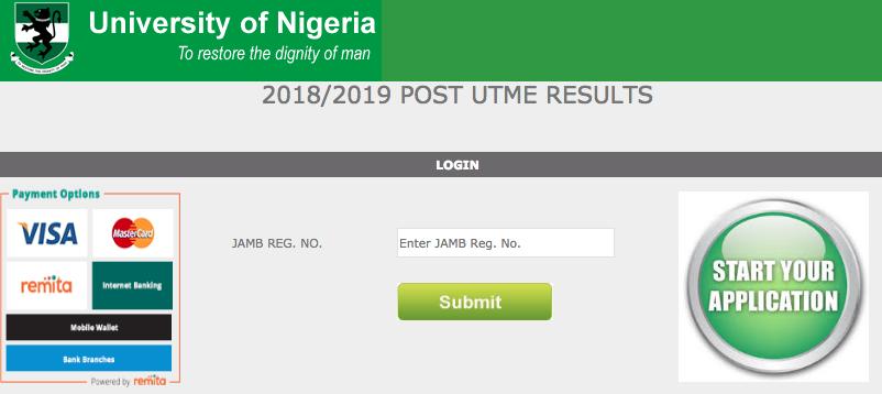 UNN Post UTME Result 2018
