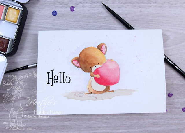 Heather's Hobbie Haven - Mouse with Heart - Water Coloring