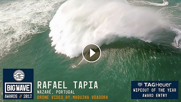 Rafael Tapia at Nazaré - 2017 TAG Heuer Wipeout of the Year Entry - WSL Big Wave Awards