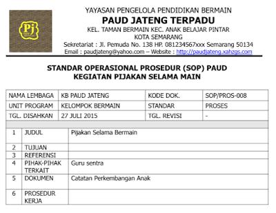Contoh SOP PAUD Pijakan Selama Main Kurikulum 2013