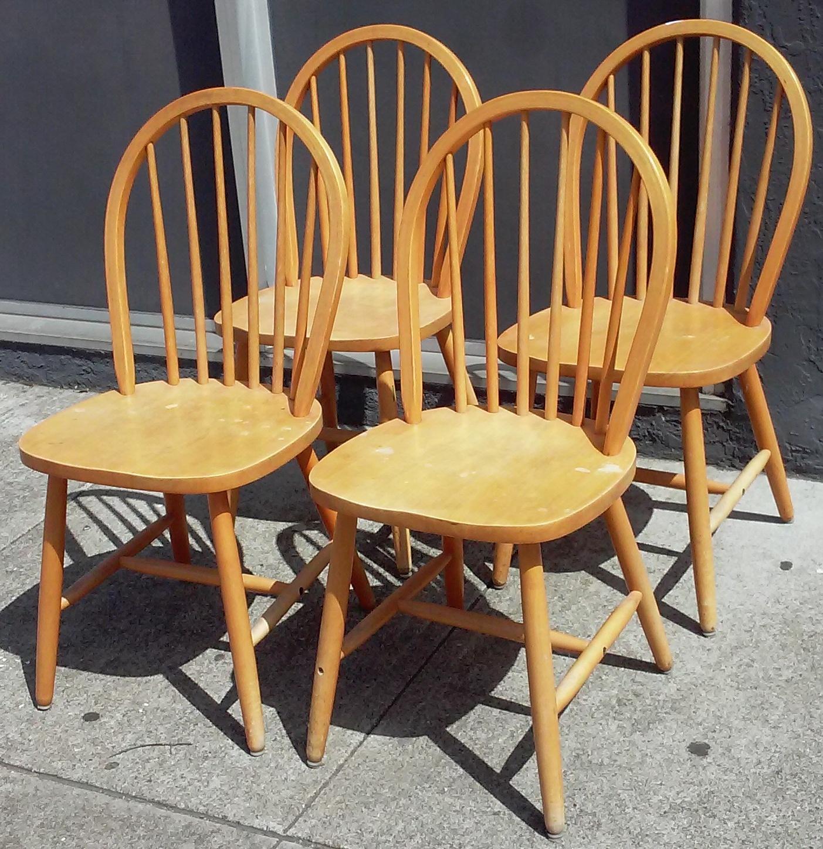 SOLD #14100 Set of 4 Blond Maple Windsor Chairs - $75 & UHURU FURNITURE u0026 COLLECTIBLES: SOLD #14100 Set of 4 Blond Maple ...