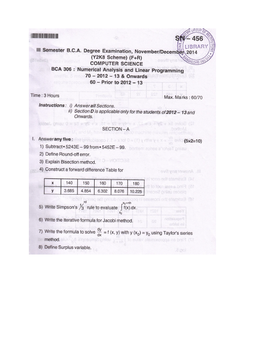 Numerical Analysis and Linear Programming Bangalore University 2014