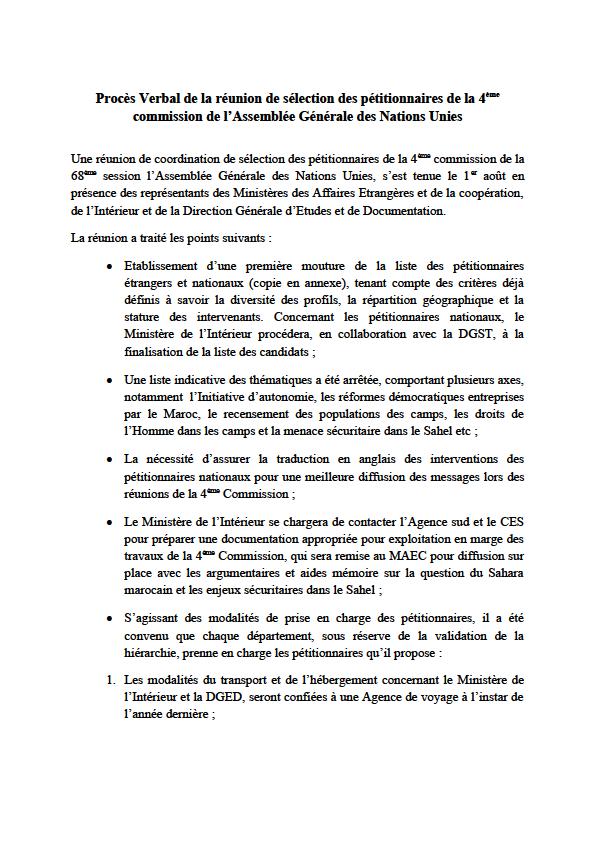 Documentos confidenciales revelan cómo Marruecos soborna peticionarios en la ONU