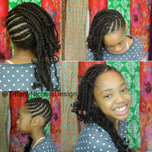 Natural Hairstyle for Kids (Cornrows and Twists Protective Hairstyle)