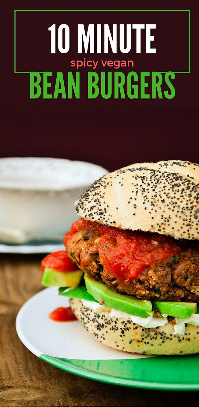 10 minute spicy vegan bean burger. This tasty burger can be cooked fresh or frozen for another day, They taste and look great and will soon become a family favourite. www.tinnedtomatoes.com