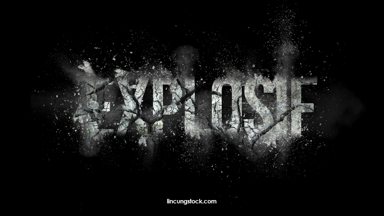 Free Download Explosion Text Effect Template. PSD File