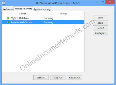 BitNami WordPress Stack Control Panel Windows 8 - Manage Servers