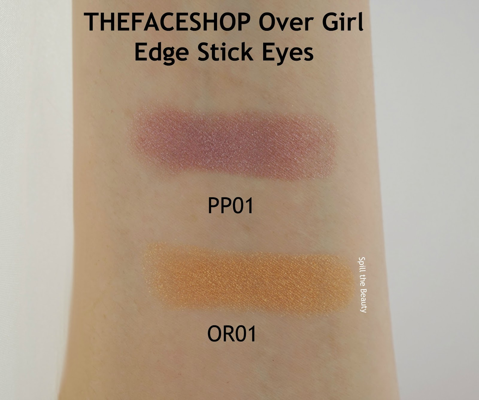 THEFACESHOP over girl edge stick eyes pp01 or01 arm swatch