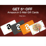 Amazon email gift cards Flat 5% OFF rainingdeal.in
