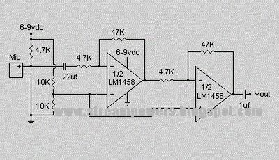 Simple Condenser Pre Amplifier LM 1458 Circuit Diagram