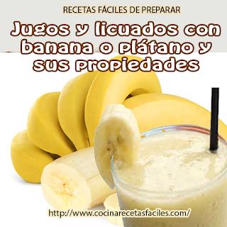 Jugos y licuados con banana o plátano✅ es una excelente opción para lograr un jugo antioxidante, lleno de nutrientes y un exquisito sabor, fácil de preparar