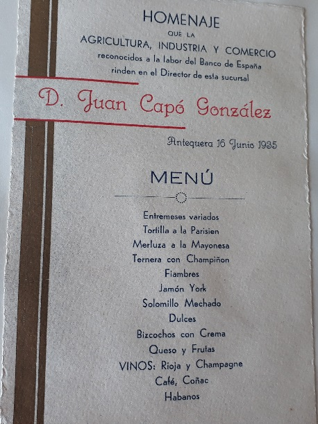 Menú del banquete del homenaje a Juan Capó González, 16 de junio de 1935