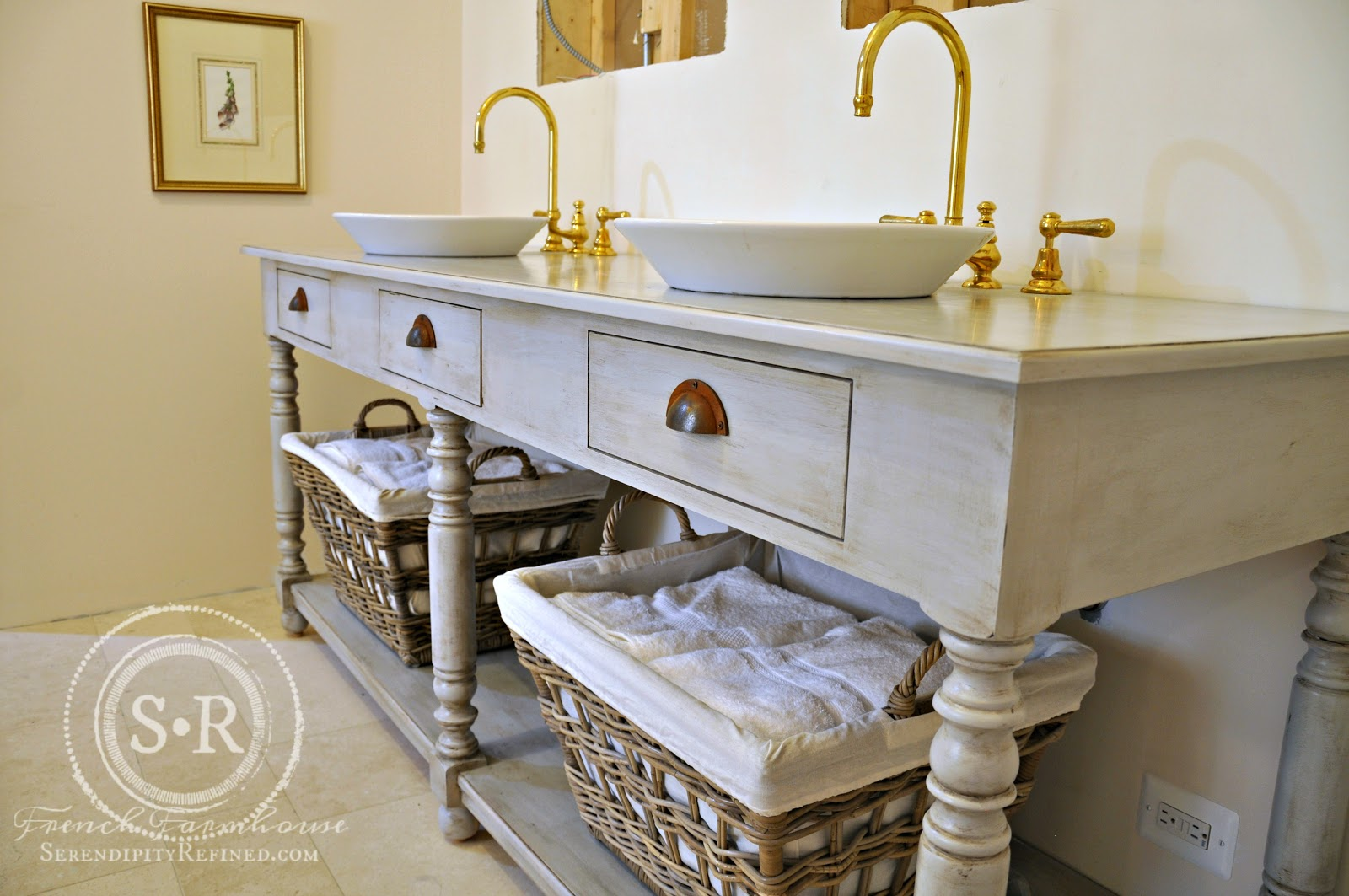 Diy bathroom vanity with vessel sink - I Love The Way That The Soft Gray Color Of The Vanity Works With The Limestone Floor The Diy Painted Finish On My Reproduction French Draper S Table Master
