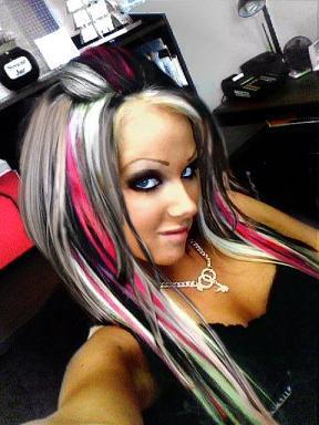 Blonde And Black Streaked Hair 105