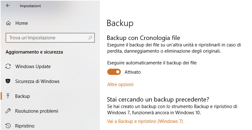 Backup su Windows10
