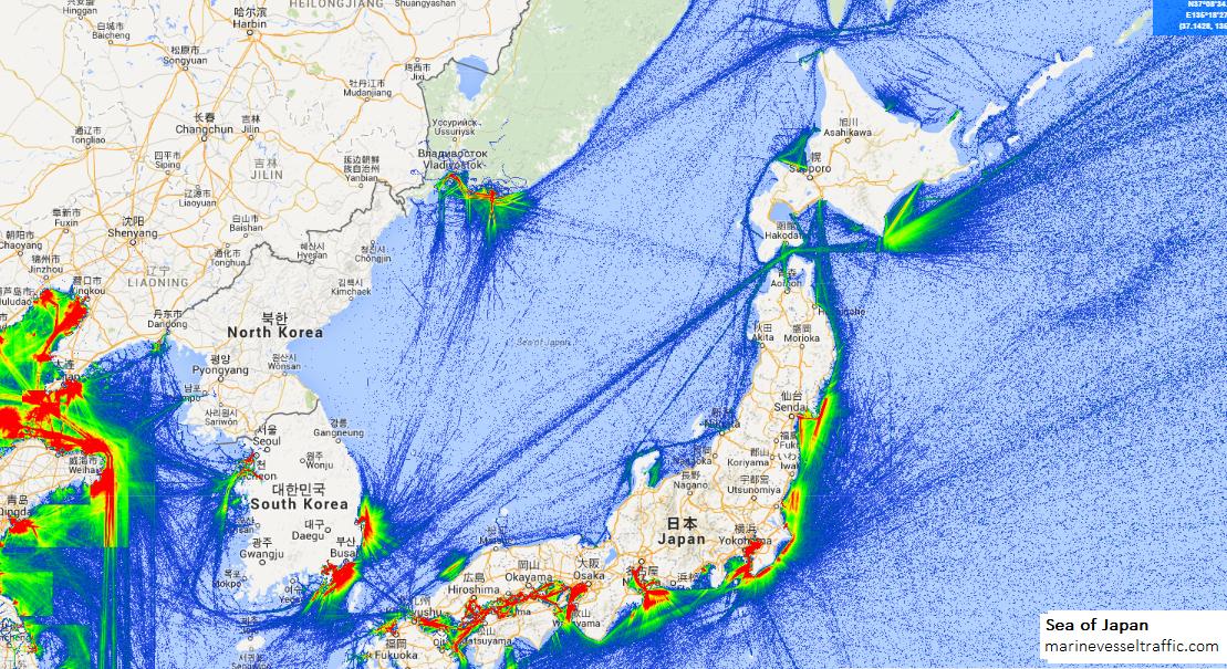 Ship Traffic Map.Sea Of Japan Ship Traffic Ship Traffic