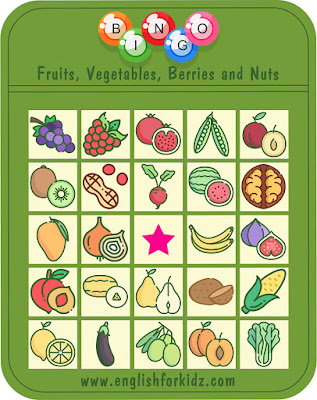 Fruits and vegetables bingo