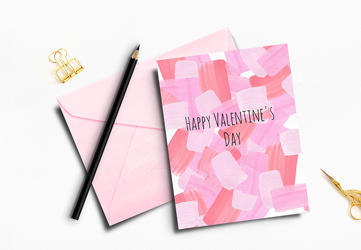 Download the free printable brushstroke Valentine's Day cards in four different colors.