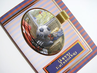 Hand made Fathers Day card with vintage football decoupage