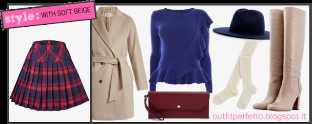 Come abbinare una GONNA TARTAN BLU E ROSSA (outfit Autunno/Inverno)