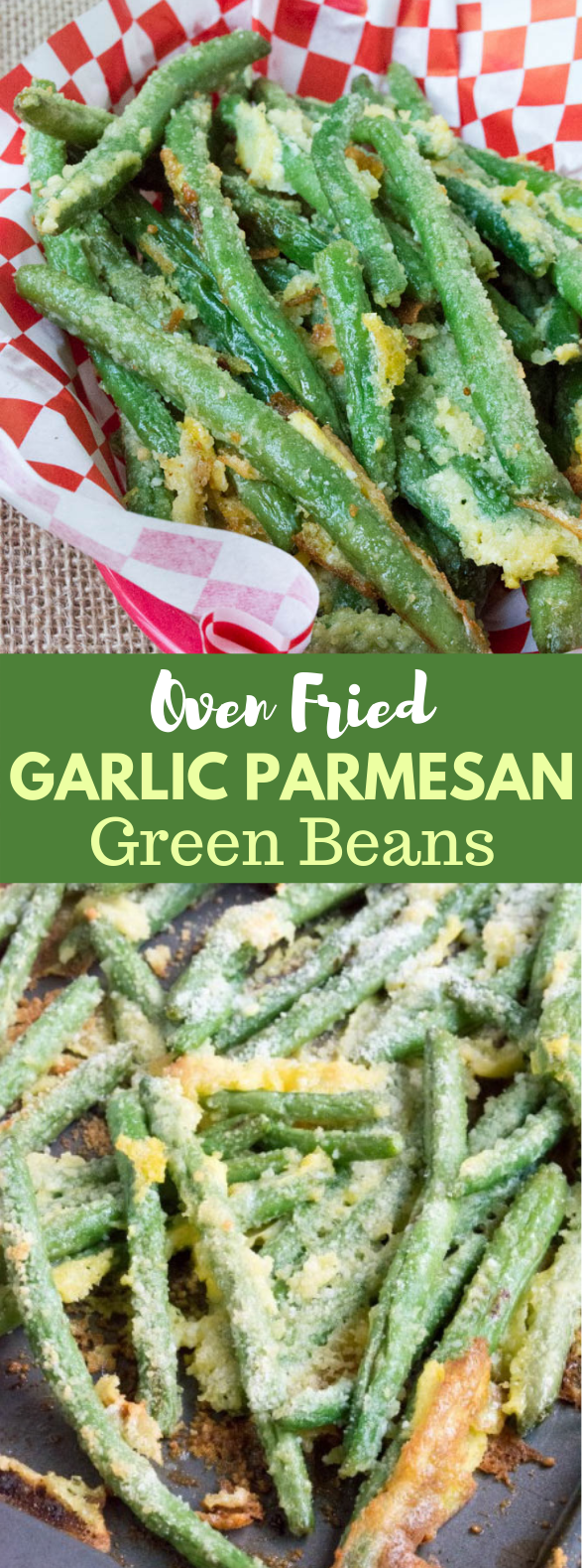 OVEN FRIED GARLIC PARMESAN GREEN BEANS #Keto #LowCarb