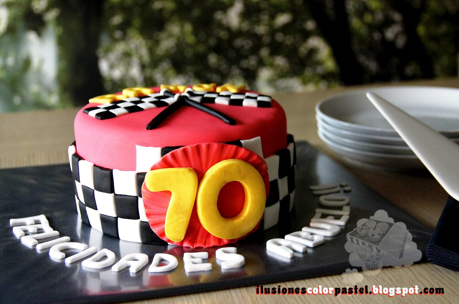 Tarta 70 Cumpleanos Para Un Abuelo Muy Molon Ilusiones Color Pastel - Tartas-de-cumpleaos-para-adultos