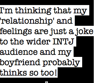 Question: I'm a female ESFJ and I'm dating an INTJ and I might be