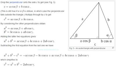 Доказательство теоремы косинусов. Тригонометрическое доказательство. Математика для блондинок.
