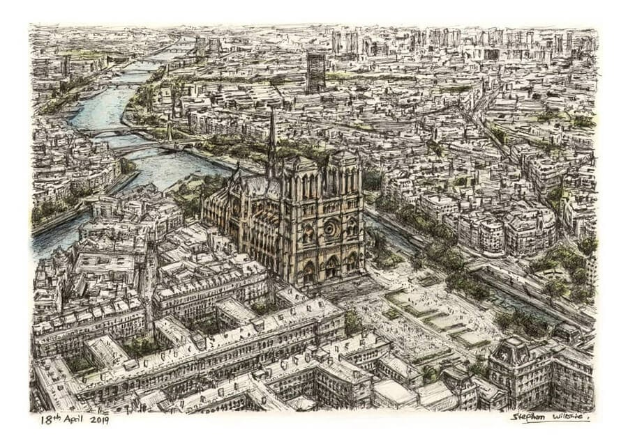 04-Notre-Dame-Stephen-Wiltshire-Urban-Cityscapes-www-designstack-co