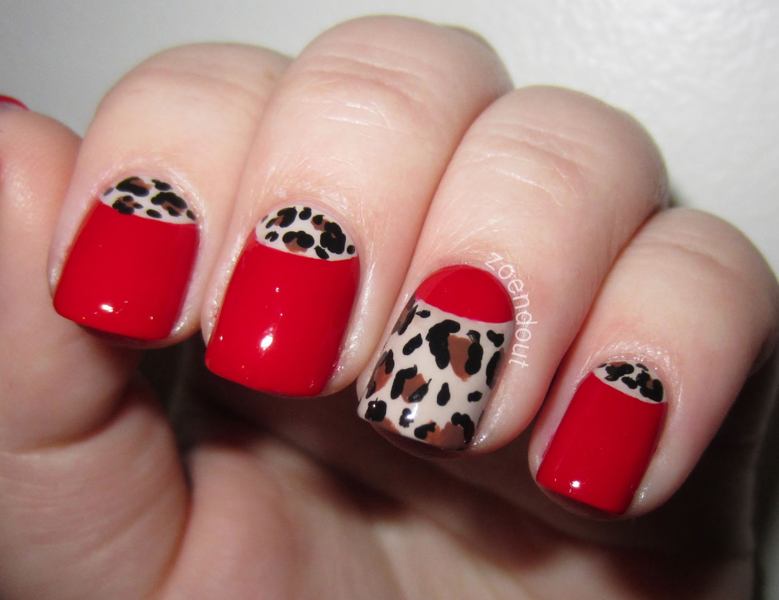 half moon nails red - photo #19
