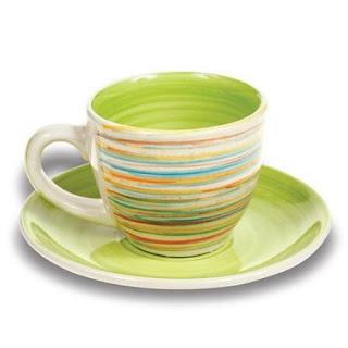 Set de ceasca de ceai cu farfurii 6+6 culoare verde