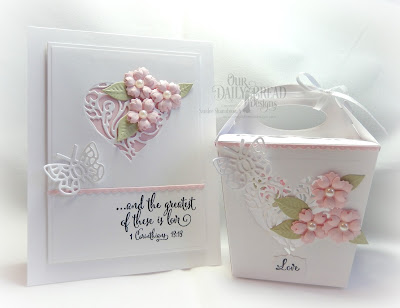 Our Daily Bread Designs Stamp Sets: To My Favorite, Let Love Grow, Custom Dies: Bitty Butterflies, Bitty Blossoms, Bitty Borders, Heavenly Hearts, Mini Label, Glorious Gable Box