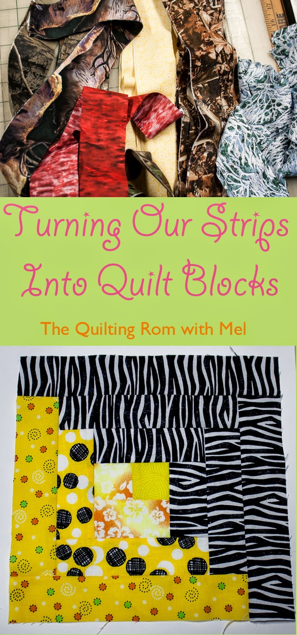 Fabric Strips to Log Cabin Quilt Block