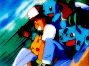 Ash con Bulbasaur, Scuirtle y Pikachu