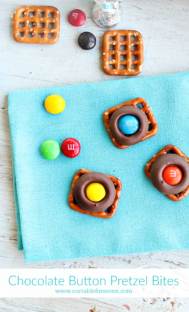 Chocolate Button Pretzel Bites