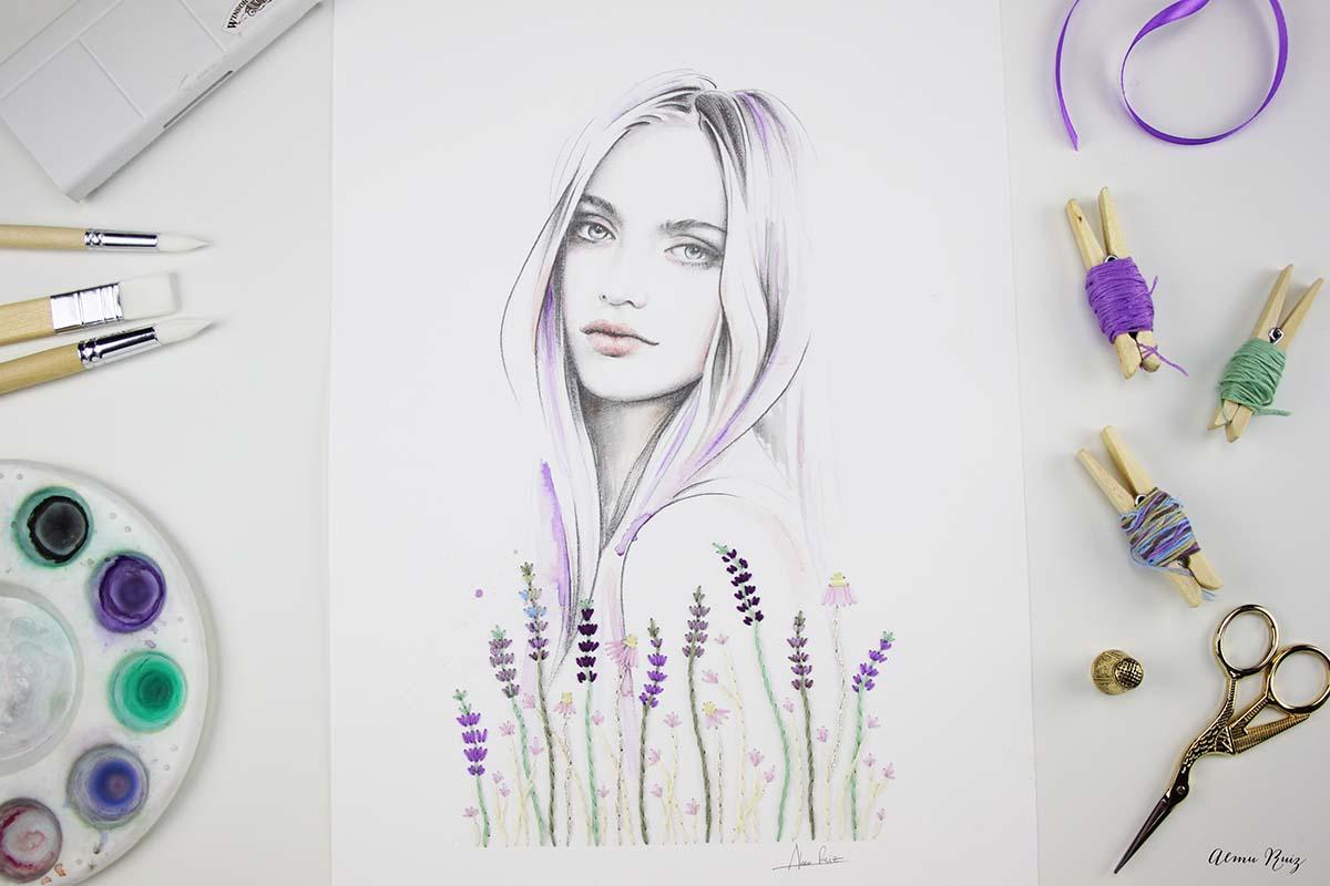 Ilustración con lápiz, acuarela y bordados sobre papel
