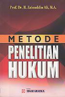AJIBAYUSTORE  Judul    :    METODE PENELITIAN HUKUM  Pengarang    :    Prof. Dr. H. Zainuddin Ali, M.A.  Penerbit    :    Sinar Grafika