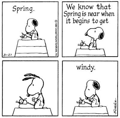 Image result for peanuts we know that spring is near when it begins to get windy comic