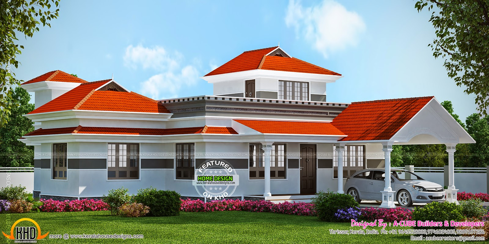 House Interior Design And Color 3 Bedroom Sloped Roof Elevation