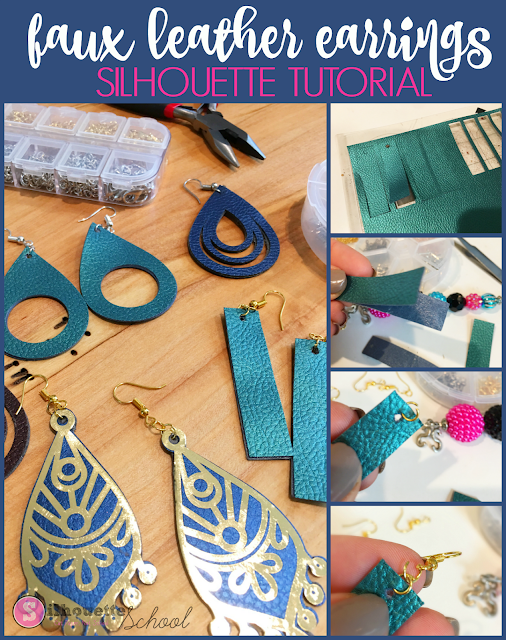 cutting faux leather, faux leather earrings, silhouette faux leather, silhouette america tutorial, silhouette 101