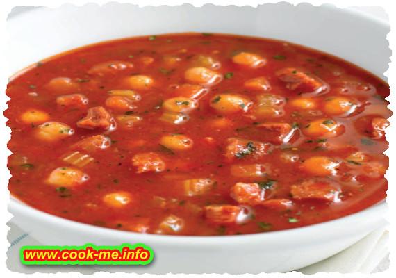Tomato and chorizo soup