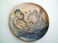 plat céramique fait décoré main phar baleines main les amoureux et la mer piatto in ceramica fatto decorato a mano gli innammorati e il mare faro balene