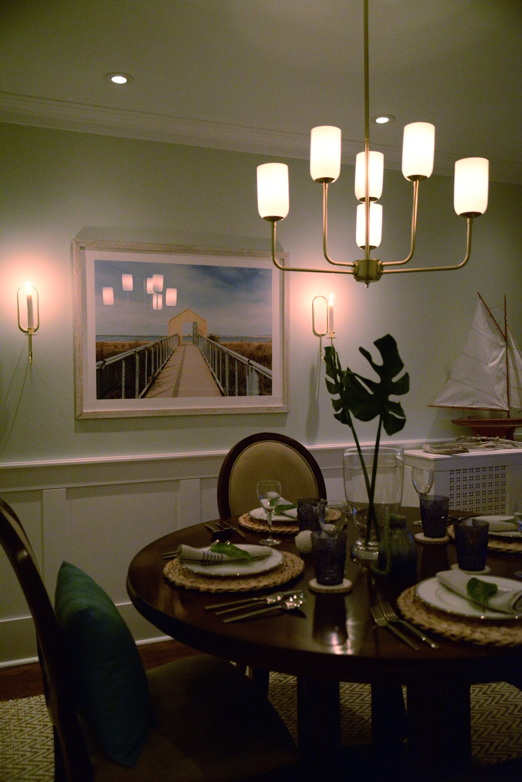 Rambling Renovators   tropical dining room, Hay Design lup oblong wall candle sconce