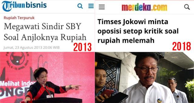 Dulu Megawati Kritik SBY Saat Rupiah Anjlok, Sekarang Timses Jokowi Minta Oposisi Stop Kritik