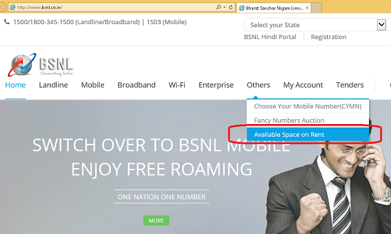 BSNL offers building spaces on rent in its various premises situated at prime locations all over India