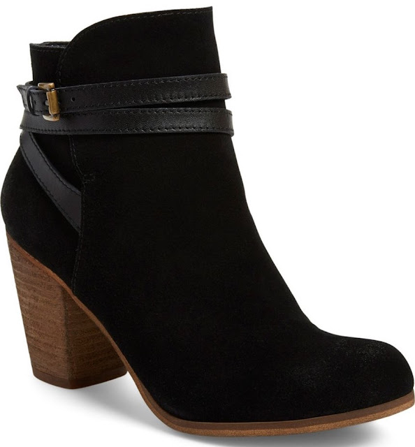 1ae1bf74e2a After Sale   119.95)  Stylish leather belts wrap the ankle on a trend-right  bootie shaped from buttery-soft suede and lifted by a blocky stacked heel.